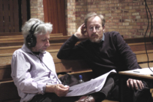 Michael Bell and Peter Seabourne reviewing tracks